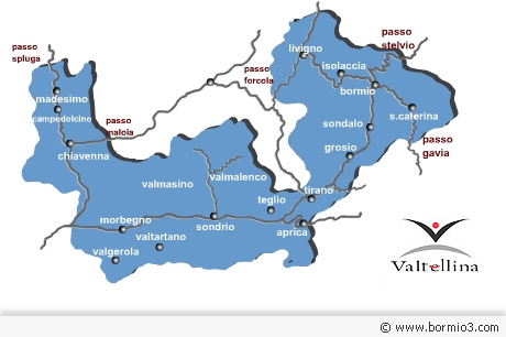 Map of Valtellina in the italian alps.